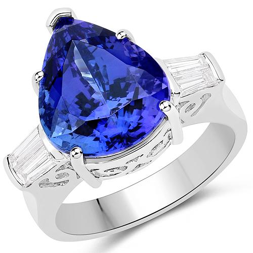 10.45 Carat Genuine Tanzanite and White Diamond 18K White Gold Ring