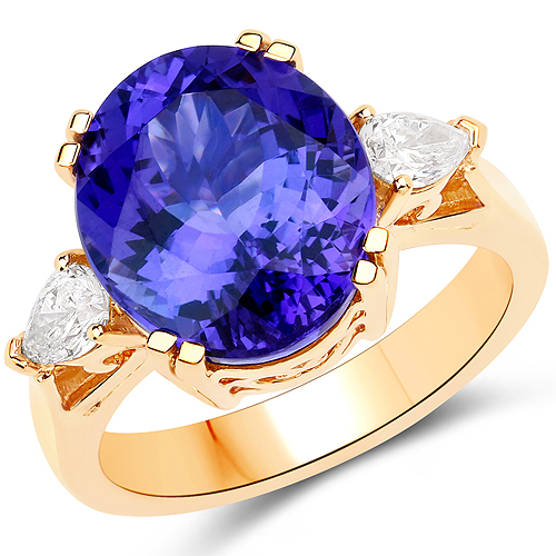 Tanzanite-9.51 Carat Genuine Tanzanite and White Diamond 18K Yellow Gold Ring