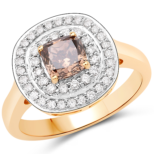 Diamond-1.35 Carat Genuine LB Diamond and White Diamond 18K Yellow Gold Ring