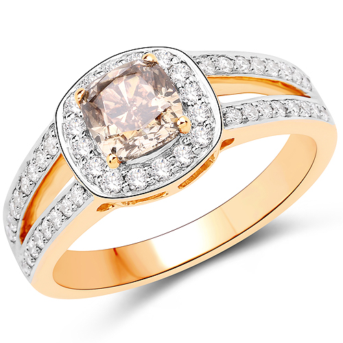 Diamond-1.44 Carat Genuine TLB Diamond and White Diamond 18K Yellow Gold Ring