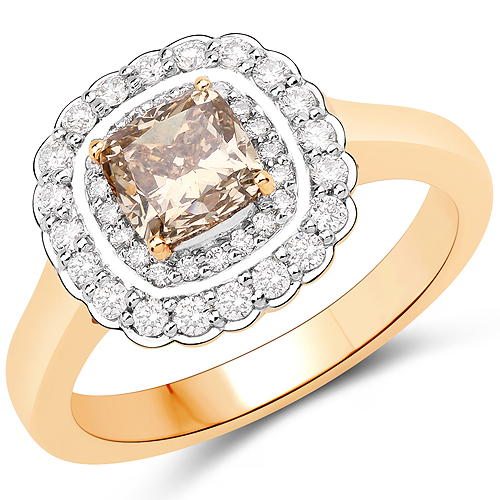 Diamond-1.41 Carat Genuine TTLB Diamond and White Diamond 18K Yellow Gold Ring