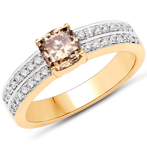 Diamond-1.32 Carat Genuine TTLB Diamond and White Diamond 18K Yellow Gold Ring