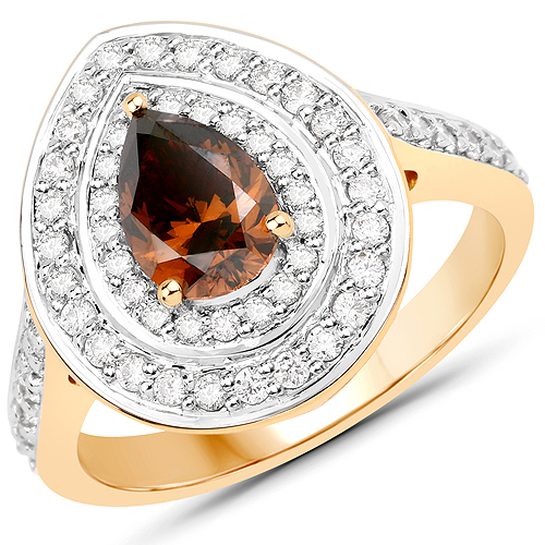 Diamond-1.57 Carat Genuine Chocolate Brown Diamond and White Diamond 18K Yellow Gold Ring