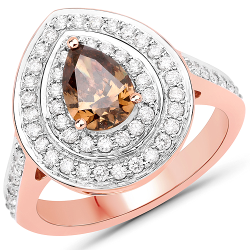 Diamond-1.64 Carat Genuine Chocolate Brown Diamond and White Diamond 18K Rose Gold Ring