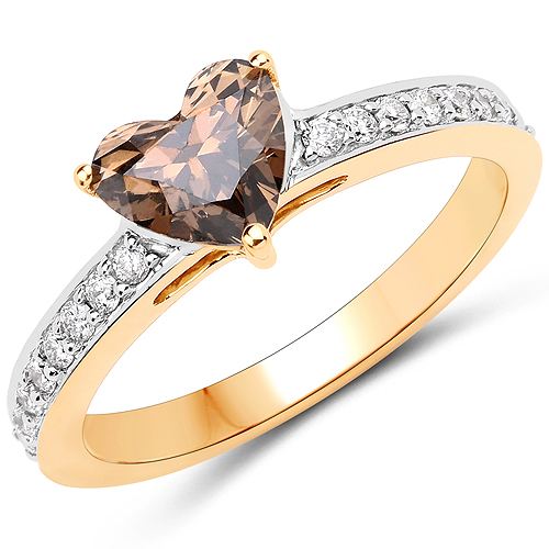 Diamond-1.28 Carat Genuine Chocolate Brown Diamond and White Diamond 18K Yellow Gold Ring