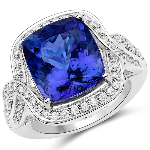 Tanzanite-13.74 Carat Genuine Tanzanite and White Diamond 18K White Gold Ring