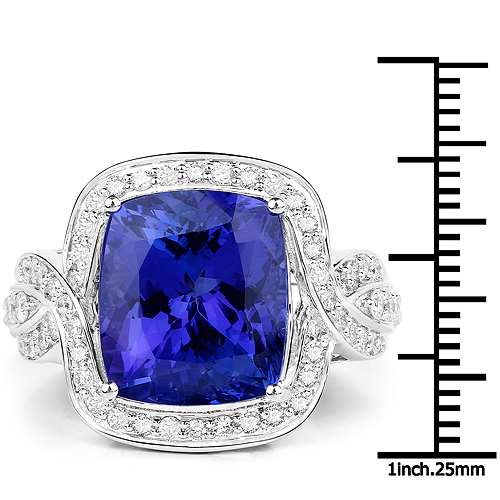 13.74 Carat Genuine Tanzanite and White Diamond 18K White Gold Ring