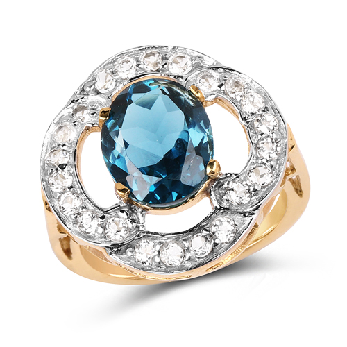 Rings-14K Yellow Gold Plated 5.13 Carat Genuine London Blue Topaz & White Topaz .925 Sterling Silver Ring