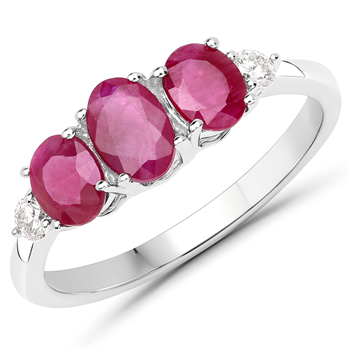 Ruby-1.22 Carat Genuine Ruby and White Diamond 14K White Gold Ring
