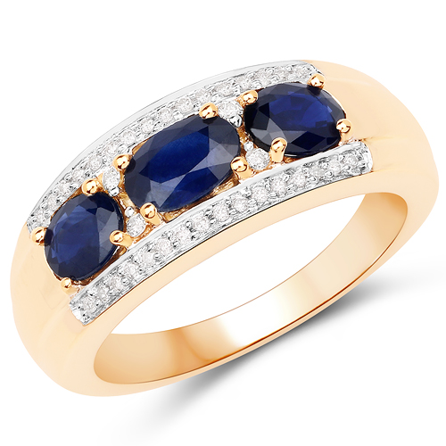 Sapphire-1.25 Carat Genuine Blue Sapphire and White Diamond 14K Yellow Gold Ring