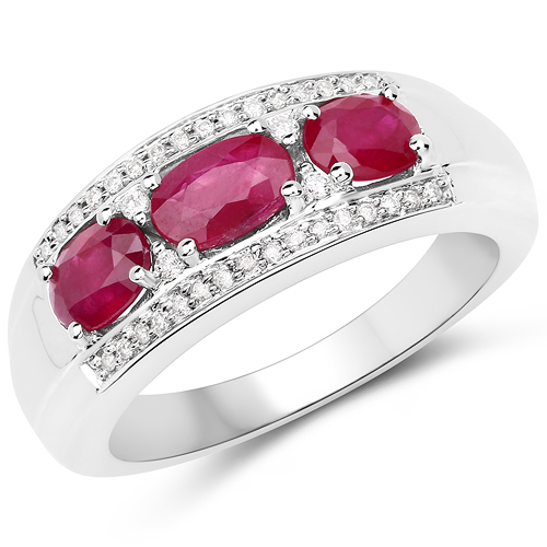 Ruby-1.21 Carat Genuine Ruby and White Diamond 14K White Gold Ring