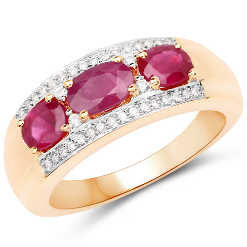 Ruby-1.21 Carat Genuine Ruby and White Diamond 14K Yellow Gold Ring