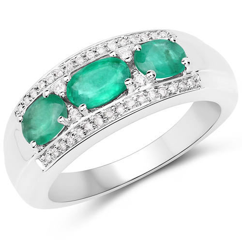Emerald-1.13 Carat Genuine Zambian Emerald and White Diamond 14K White Gold Ring