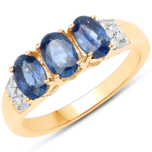 Sapphire-1.54 Carat Genuine Blue Sapphire and White Diamond 14K Yellow Gold Ring
