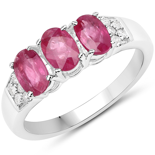 Ruby-1.66 Carat Genuine Ruby and White Diamond 14K White Gold Ring