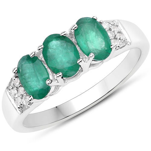 Emerald-1.42 Carat Genuine Zambian Emerald and White Diamond 14K White Gold Ring