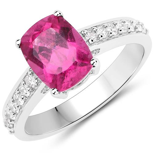 2.27 Carat Genuine Rubellite and White Diamond 14K White Gold Ring