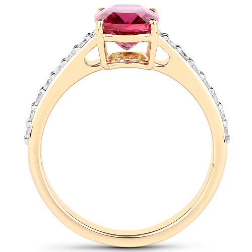 2.27 Carat Genuine Rubellite and White Diamond 14K Yellow Gold Ring