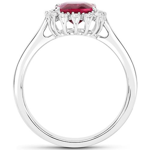 2.10 Carat Genuine Rubellite and White Diamond 14K White Gold Ring