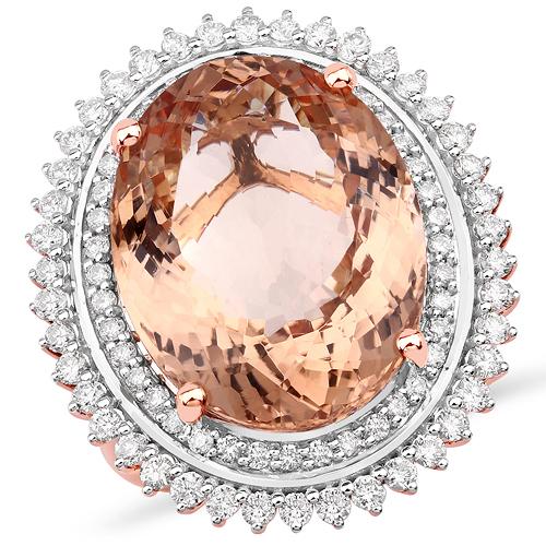 15.84 Carat Genuine Morganite and White Diamond 14K Rose Gold Ring