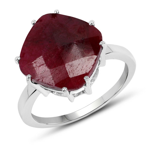 Ruby-8.20 Carat Dyed Ruby .925 Sterling Silver Ring