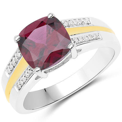 Rhodolite-2.30 Carat Genuine Rhodolite and White Diamond 14K Yellow Gold with .925 Sterling Silver Ring