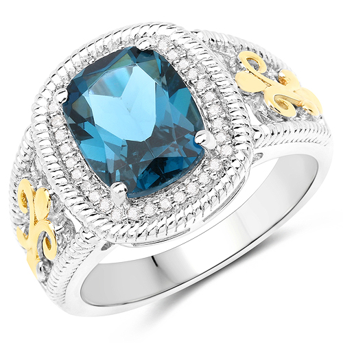 Rings-3.59 Carat Genuine London Blue Topaz and White Diamond 14K Yellow Gold with .925 Sterling Silver Ring