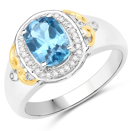 Rings-1.60 Carat Genuine London Blue Topaz and White Diamond 14K Yellow Gold with .925 Sterling Silver Ring