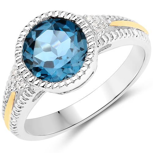 Rings-2.28 Carat Genuine London Blue Topaz and White Diamond 14K Yellow Gold with .925 Sterling Silver Ring