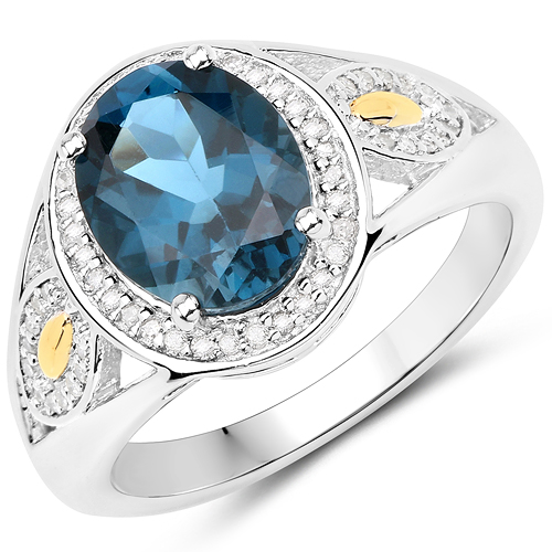Rings-2.70 Carat Genuine London Blue Topaz and White Diamond 14K Yellow Gold with .925 Sterling Silver Ring