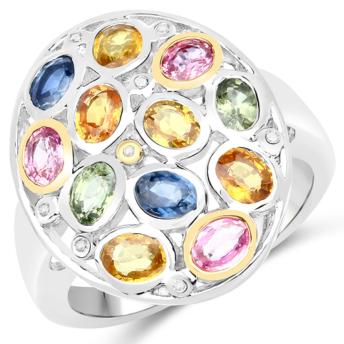 Sapphire-2.42 Carat Genuine Multi Sapphire 14K Yellow Gold with .925 Sterling Silver Ring