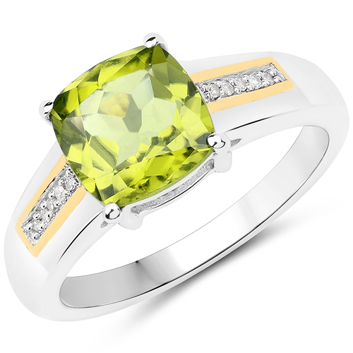Peridot-2.18 Carat Genuine Peridot and White Diamond 14K Yellow Gold with .925 Sterling Silver Ring