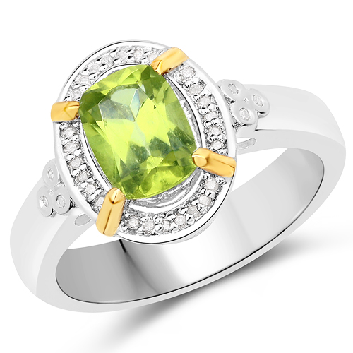 Peridot-1.49 Carat Genuine Peridot and White Diamond 14K Yellow Gold with .925 Sterling Silver Ring