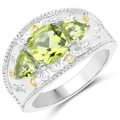 Peridot-2.45 Carat Genuine Peridot and White Diamond 14K Yellow Gold with .925 Sterling Silver Ring