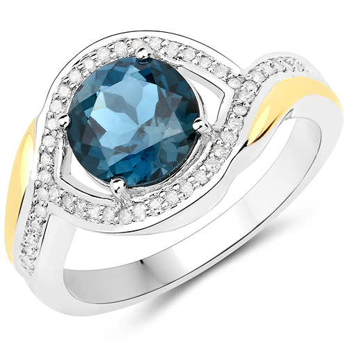 Rings-2.38 Carat Genuine London Blue Topaz and White Diamond 14K Yellow Gold with .925 Sterling Silver Ring