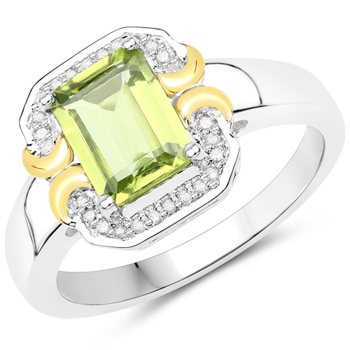 Peridot-1.67 Carat Genuine Peridot and White Diamond 14K Yellow Gold with .925 Sterling Silver Ring
