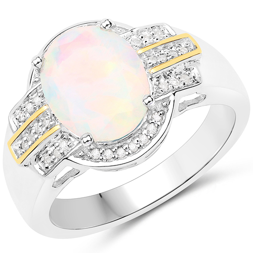 Opal-1.65 Carat Genuine Ethiopian Opal and White Diamond 14K Yellow Gold with .925 Sterling Silver Ring