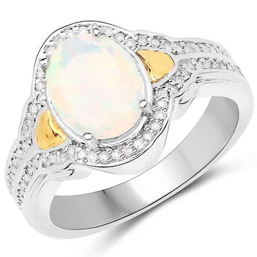 Opal-1.00 Carat Genuine Ethiopian Opal and White Diamond 14K Yellow Gold with .925 Sterling Silver Ring