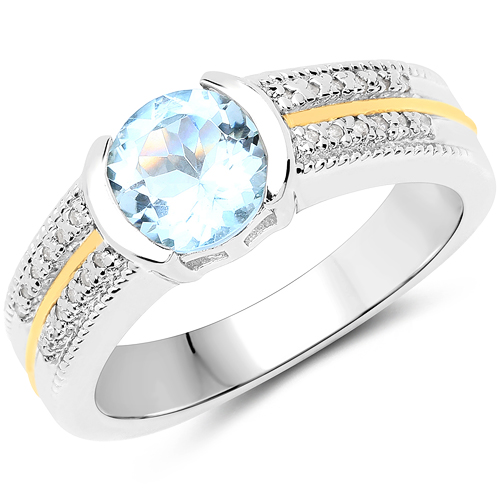 Rings-1.37 Carat Genuine Aquamarine and White Diamond 14K Yellow Gold with .925 Sterling Silver Ring