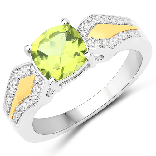 Peridot-1.64 Carat Genuine Peridot and White Diamond 14K Yellow Gold with .925 Sterling Silver Ring