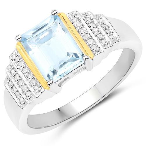Rings-1.40 Carat Genuine Aquamarine and White Diamond 14K Yellow Gold with .925 Sterling Silver Ring