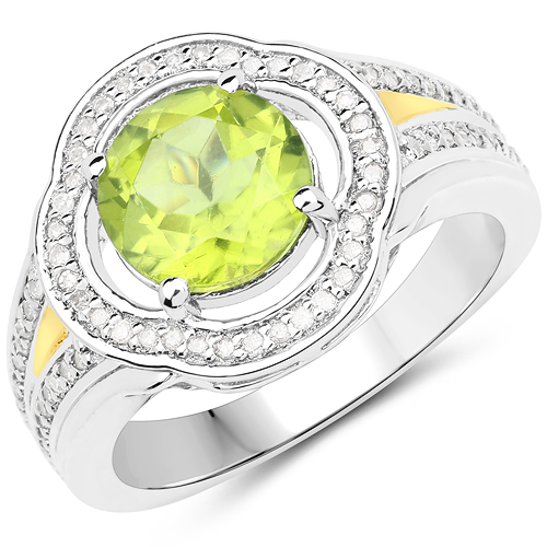Peridot-2.06 Carat Genuine Peridot and White Diamond 14K Yellow Gold with .925 Sterling Silver Ring