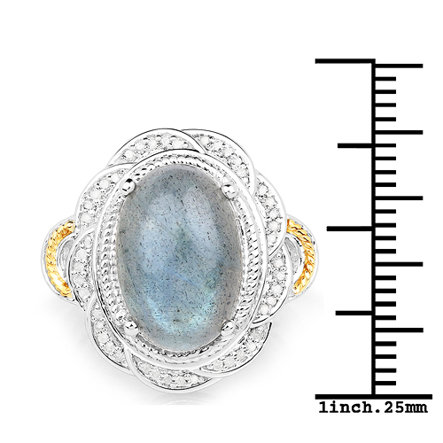 6.12 Carat Genuine Labradorite and White Diamond 14K Yellow Gold with .925 Sterling Silver Ring