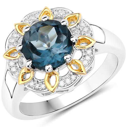 Rings-2.32 Carat Genuine London Blue Topaz and White Diamond 14K Yellow Gold with .925 Sterling Silver Ring