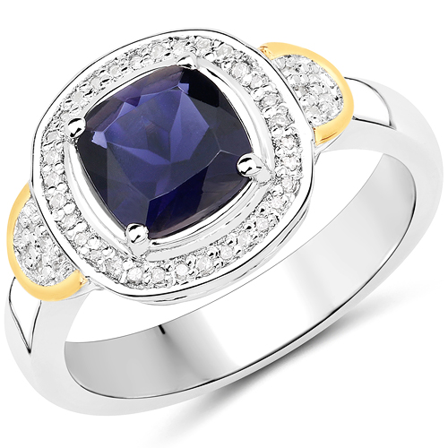 Rings-1.01 Carat Genuine Iolite and White Diamond 14K Yellow Gold with .925 Sterling Silver Ring