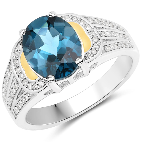 Rings-2.71 Carat Genuine London Blue Topaz and White Diamond 14K Yellow Gold with .925 Sterling Silver Ring