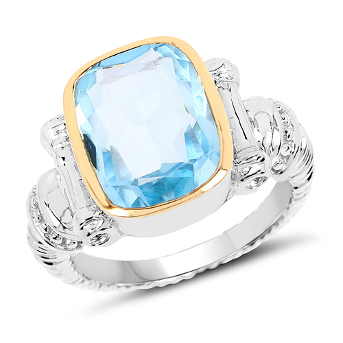 Rings-Two Tone Plated 7.03 Carat Genuine Blue Topaz & White Topaz .925 Sterling Silver Ring