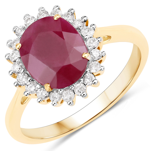 Ruby-1.70 Carat Genuine Ruby and White Diamond 14K Yellow Gold Ring