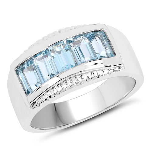 Rings-1.75 Carat Genuine Blue Topaz .925 Sterling Silver Ring
