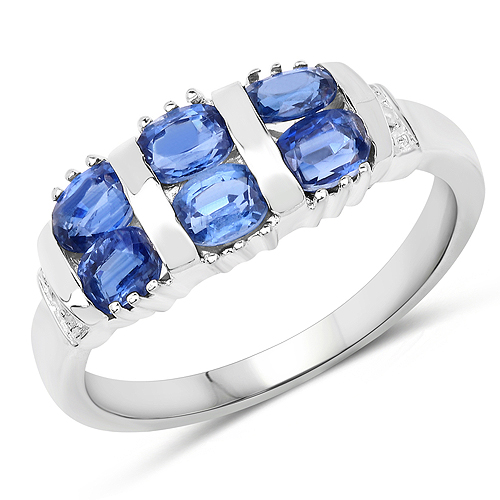 Rings-1.63 Carat Genuine Kyanite and White Diamond .925 Sterling Silver Ring